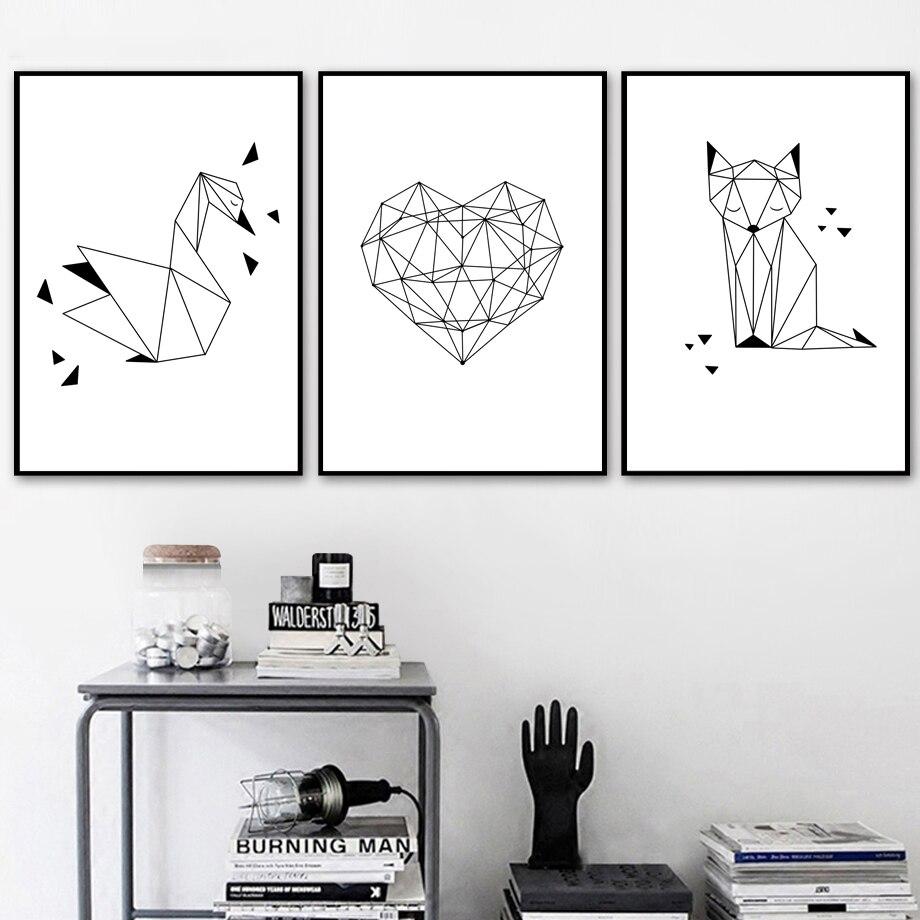 Póster geométrico de cisne, corazón, zorro, nórdico, arte de pared, lienzo impreso, pintura Animal, poart, cuadros de pared para decoración para sala de estar