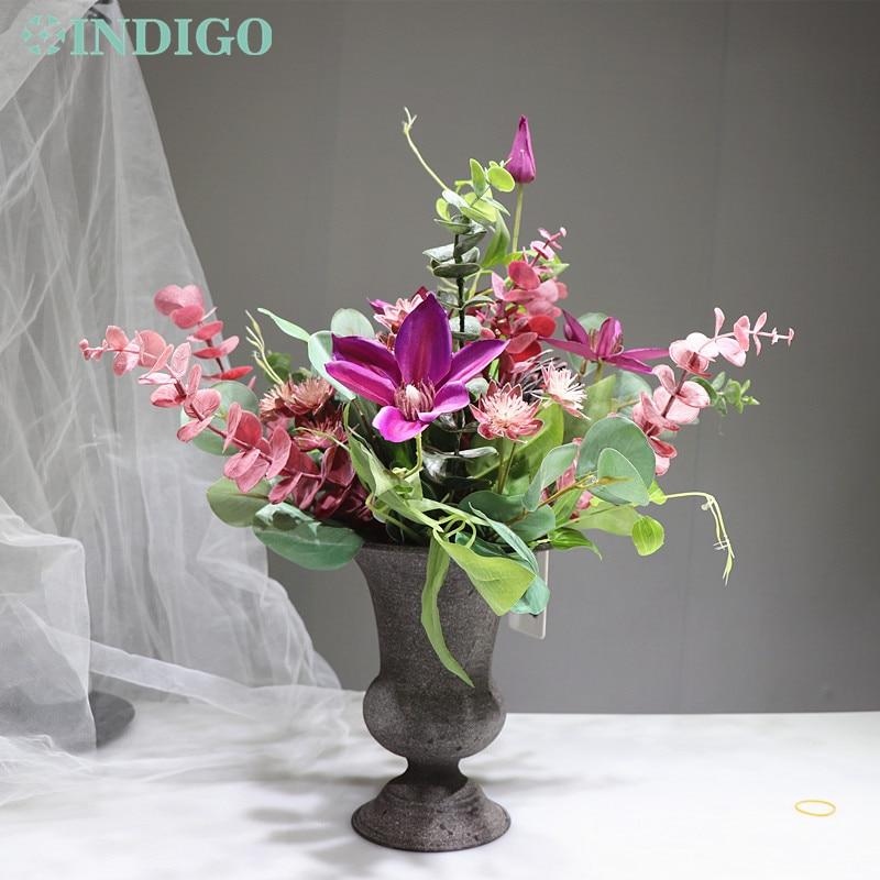 INDIGO - DIY Purple Clematis 1 Set Chrysanthemum Artificial Flower Arrangement Bonsai Bouquet Designed Centerpiece Interior Trim