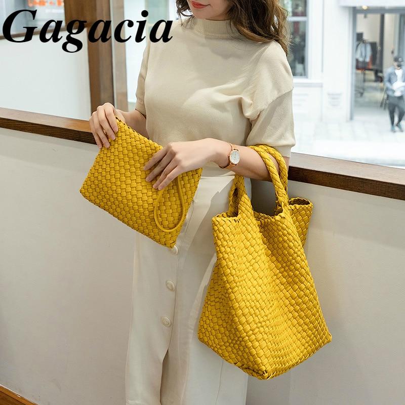 Gagacia Women's Hand Woven Shopping Bags Large Capacity Bucket Shoulder Bag For Women 2021 New Woman's Composite Tote PU Handbag