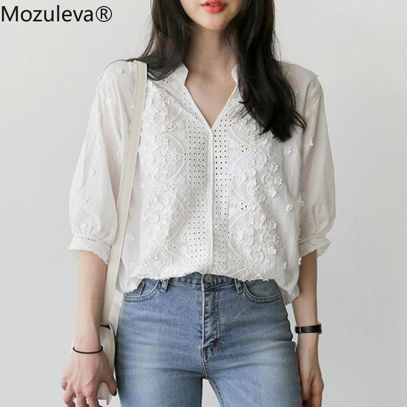 Mozuleva Elegant White V-neck Embroidery Flower Blouse Shirt Women Lantern Sleeve Hollow-out Sexy blusas 2018 Summer Blouse Tops
