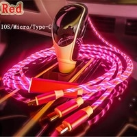 3in1 led usb cable micro usb typec charging cable for iphone12 huaweip30 samsung xiaomi micro usb charge cable
