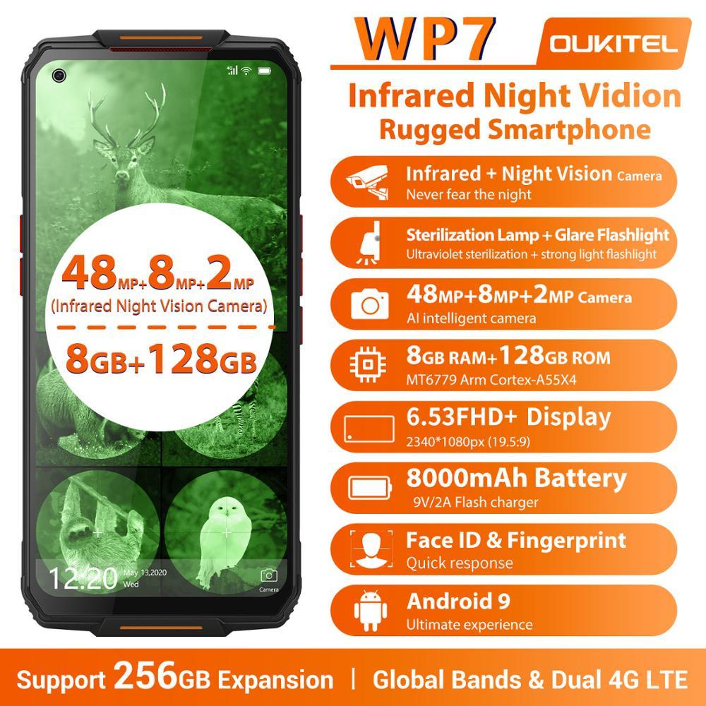 Перейти на Алиэкспресс и купить OUKITEL WP7 6,53 дюймFHD 19,5: 9 Android 9,0 MT6779 Octa Core 9V/2A 8000 мА/ч, 48MP камеры 8 Гб 128 инфракрасный Ночное видение мобильный телефон