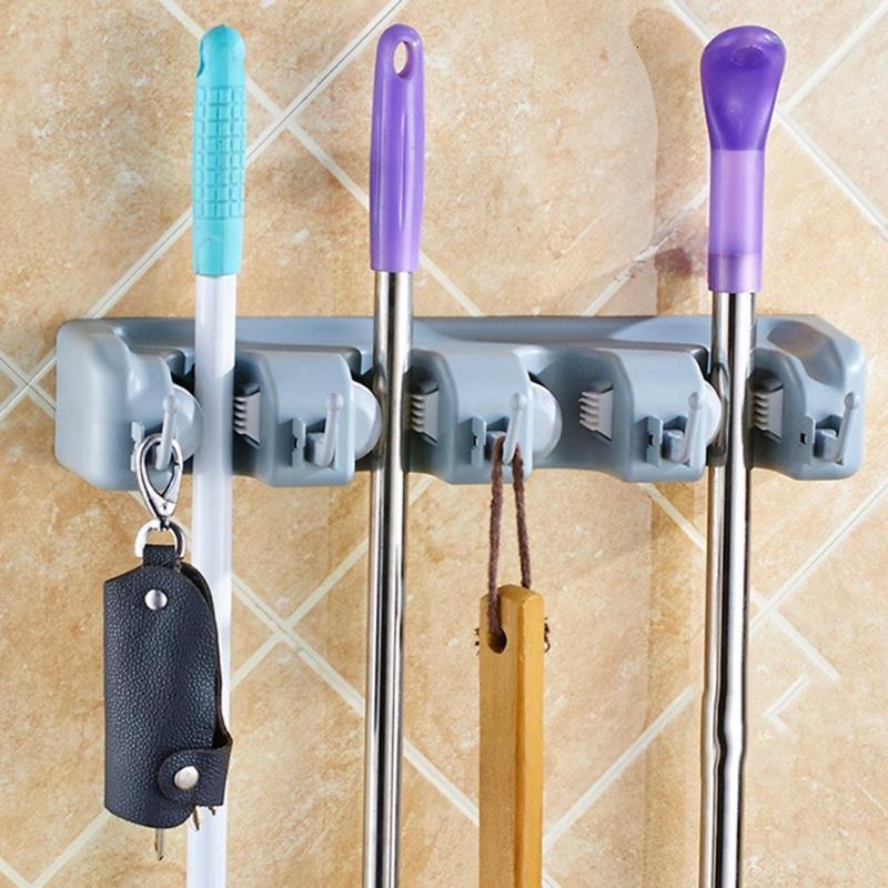Support de balai en plastique   Support mural multifonctionnel à 5/4/3 positions, outil magique support en plastique pour salle de bain, cuisine