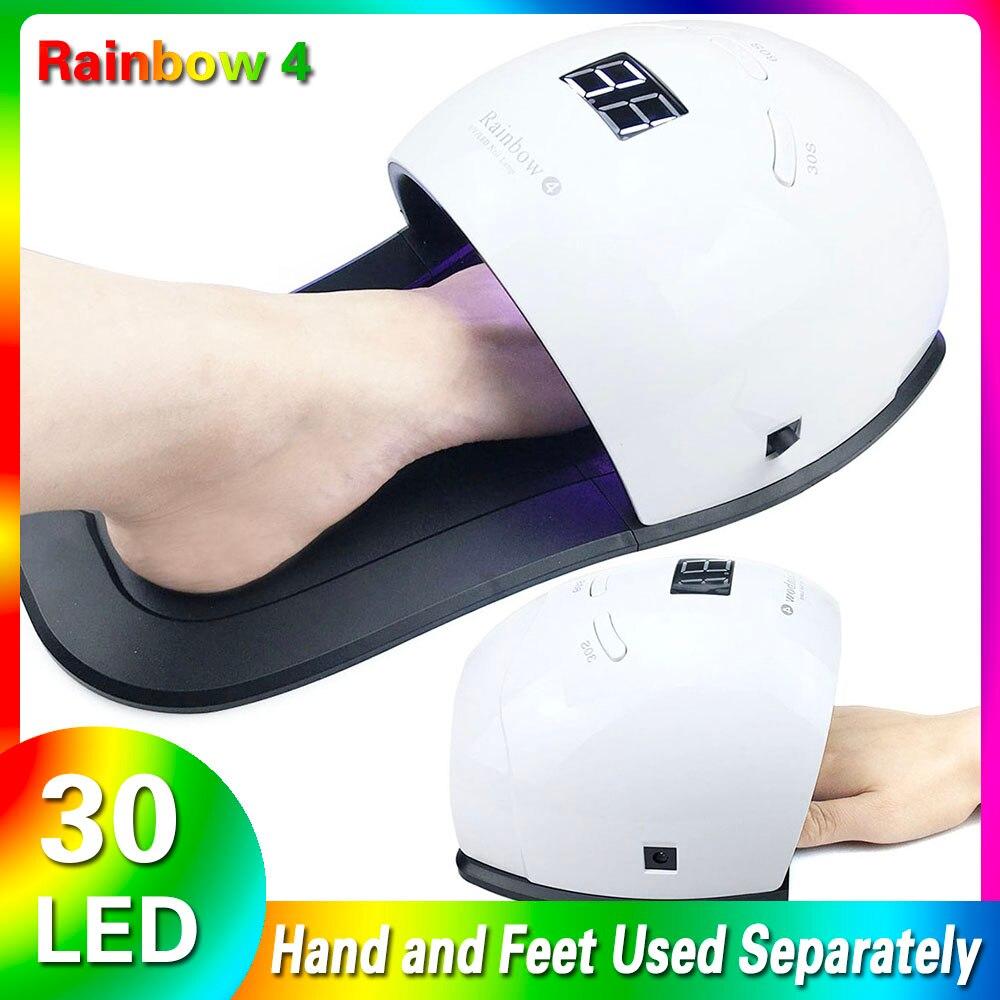 Lámpara UV 48W Hybrid, lámpara de secado de barniz de Gel con 30 LEDs de secado rápido con pies, lámpara de uñas Led UV