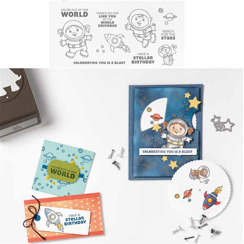 Space Metal Cutting Dies And Stamps Scrapbooking Stencils for DIY Album Paper Card Decorative