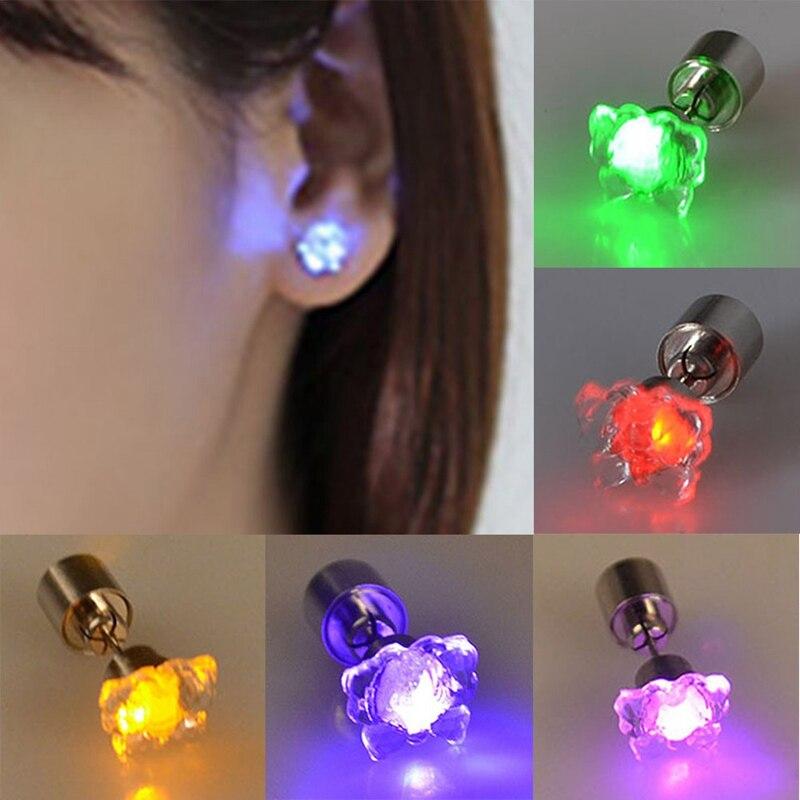 2020 venda quente 1 pçs charme led brinco light up borboleta incandescente de cristal inoxidável orelha gota brinco brinco jóias