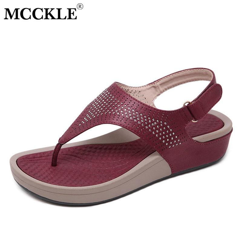 MCCKLE Woman Retro Sandals Women Flip Flops Female Hook Loop Thong Beach Shoes Casual Flat Ladies Sewing Outside Sandals Summer