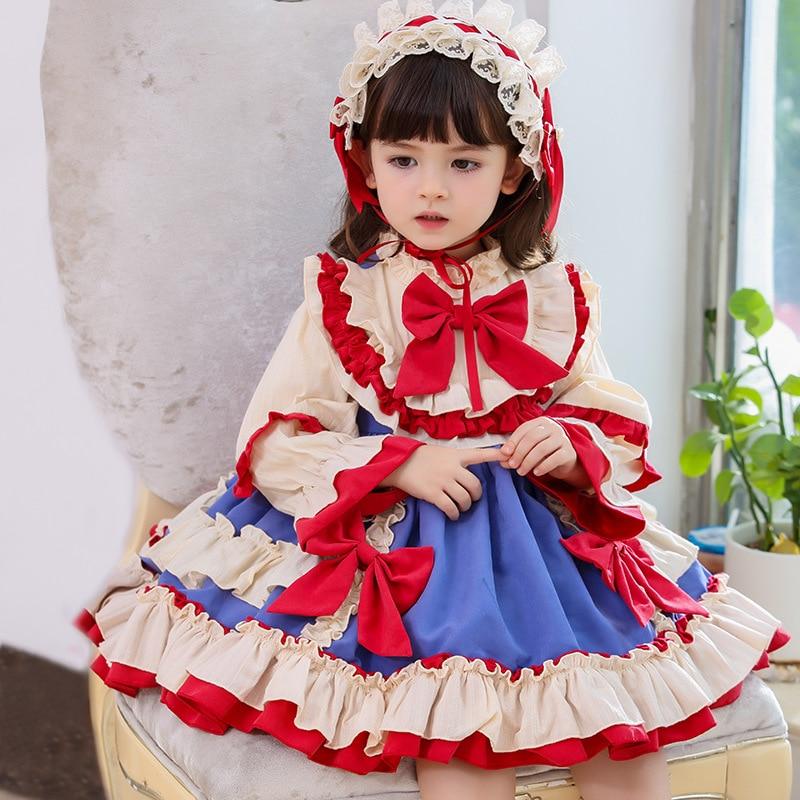 فستان بناتي للحفلات, فستان بناتي للحفلات خريفي وشتوي طويل باللون الأحمر مزود بفيونكة مناسب للحفلات وأعياد الميلاد والكريسماس