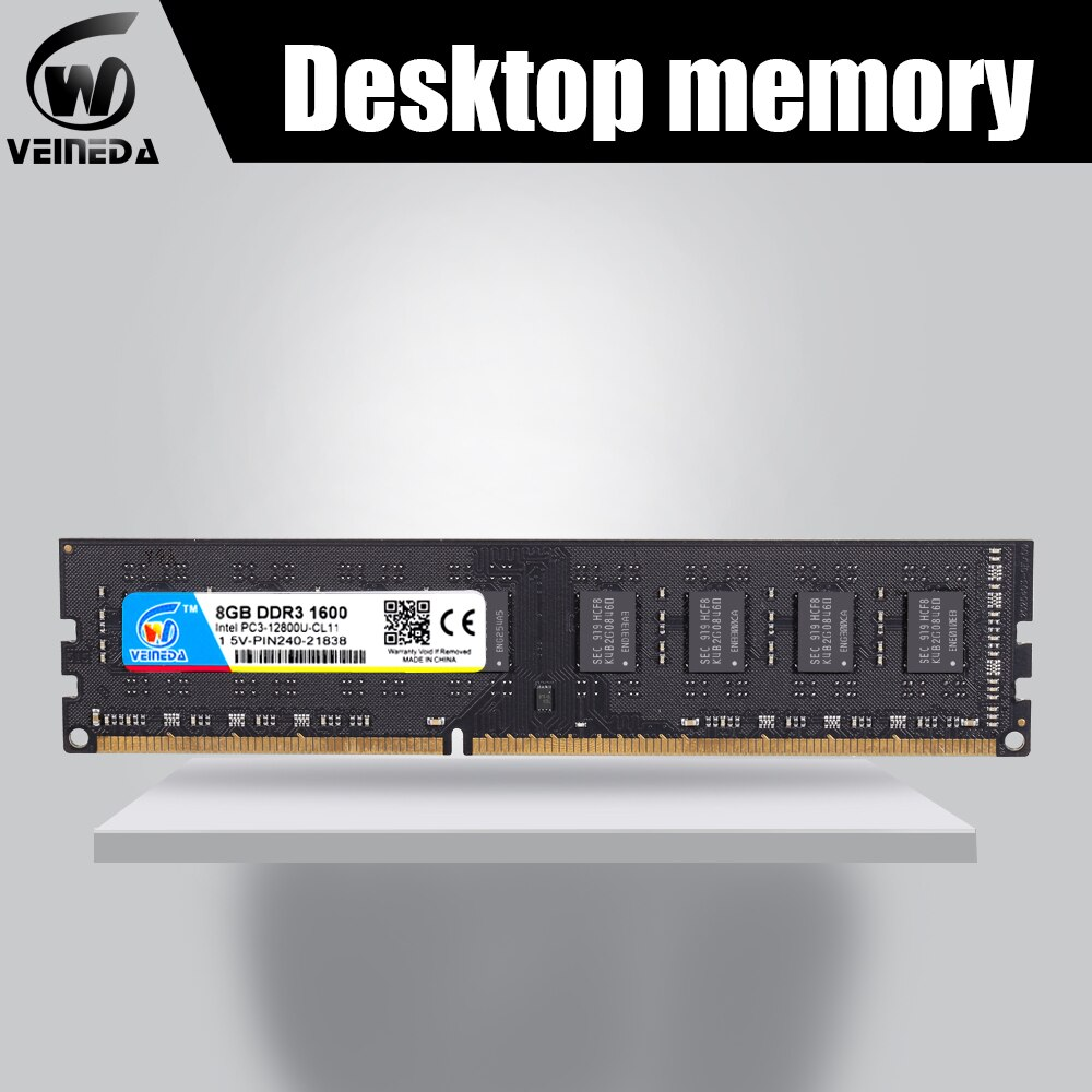 Veineda nova ram ddr3 32gb 4x4gb memória ram 1066 1333 ddr3 para todos intel amd desktop PC3-12800 ddr3 1600 240pin não-dimm ecc