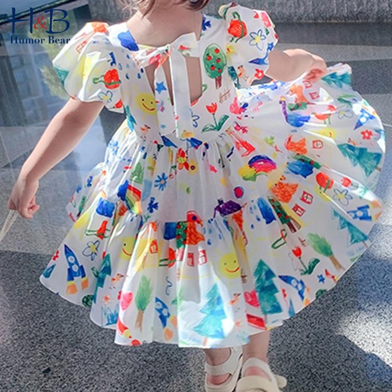 aliexpress - Humor Bear 2020 New Summer Girls Dress Cartoon Puff Sleeve Short Sleeves Princess Party Dress Baby Kids Children Clothing