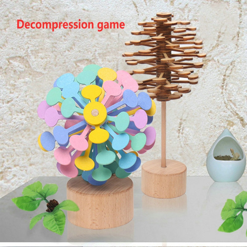 Fibonacci sequence wooden toys spin lollipop It's toy & Decompression device Creative ornaments log toy Children's toy baby gift enlarge