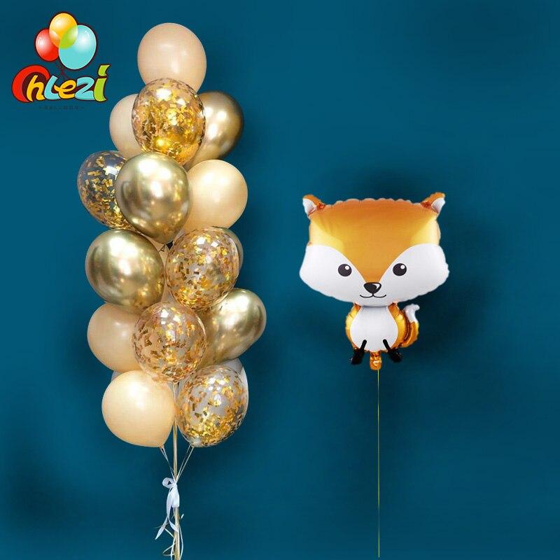 21 Uds decoraciones para fiesta de cumpleaños de animales zorro erizo mapache ardilla globos de helio mercancías para decoración de baño de bebé adulto
