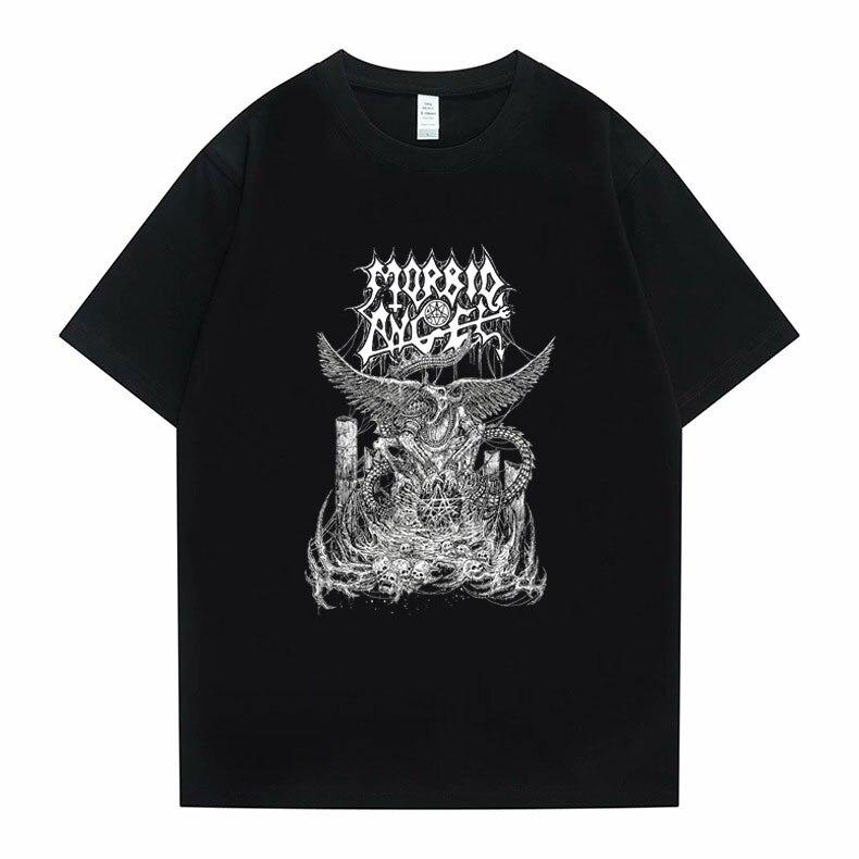 худи rock angel rock angel ro050ewgfzx4 Morbid Angel Active Graphic Print Tshirt Summer Men Women Fashion Hip Hop Tees Tops Rock Music T-shirt Oversized Punk T Shirts