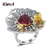 Kinel Natürliche Stein Vintage Große Frauen Ring Antike Silber Farbe Mode Rote Kristall Schmetterling Braut Hochzeit Ringe Party Geschenk