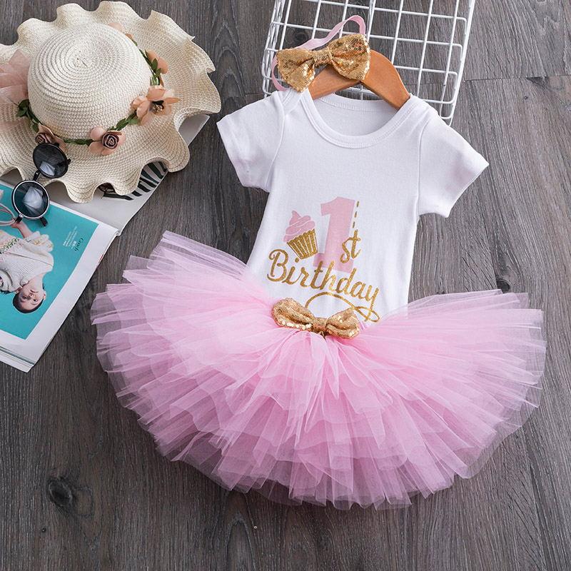 תינוקת 1 שנה יום הולדת טוטו שמלת פעוט בנות 1st מסיבת יום הולדת טבילה תלבושות נסיכת תלבושות עבור 12 חודשים בנות