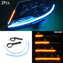 2 uds 30/45/60mm Ultra delgado doble Color coche suave tubo LED tira DRL Flujo de señal de giro lámpara tira de circulación diurna