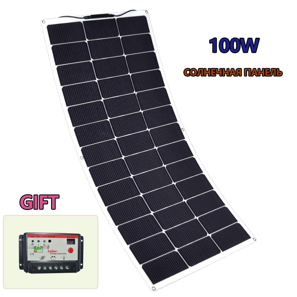 100 w painel solar flexível 10a 12 v 24 v controlador carregador de bateria para rv carro barco controlador carga