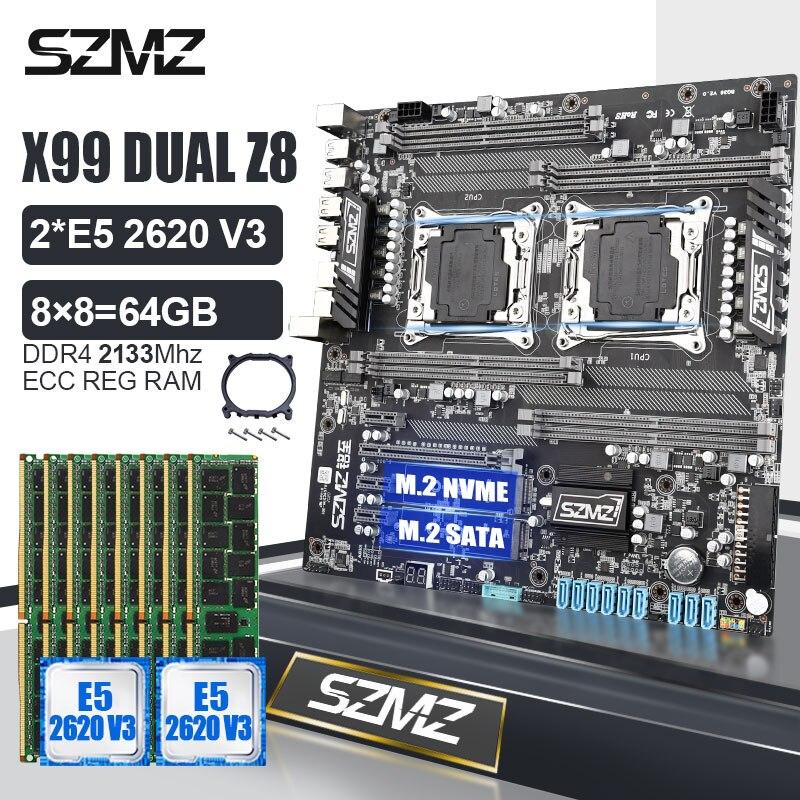 SZMZ X99 مجموعة اللوحة الأم المزدوجة مع حزمة Xeon E5 2620 v3 CPU + DDR4 RAM kit دعم E5 2680 2650 2678 v4 v3 لوحة أساسية x99 كومبو