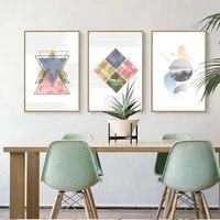 Mur Art affiche impression toile decoration de la maison peinture photo huile sans cadre dessins mode personnalite abstraite geometrie rose