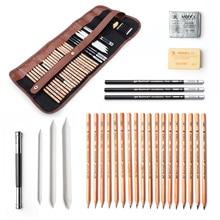 29 sztuk profesjonalny szkic i do rysowania artystycznego zestaw narzędzi z ołówków grafitowych, ołówków z węgla drzewnego, papier zmazywalny długopis, nóż do rękodzieła