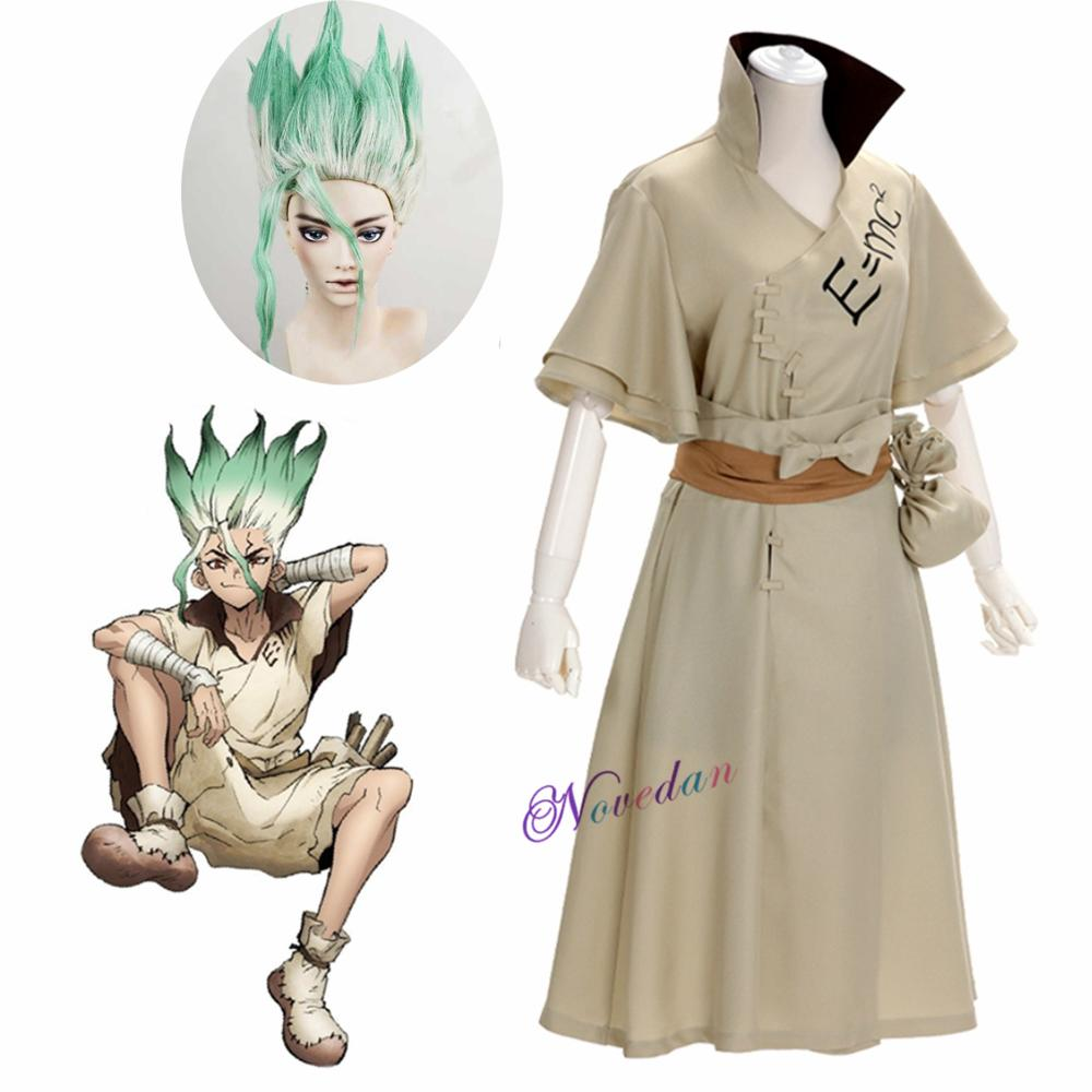 Dr. Stone Anime Doctor Stone Senku Ishigami Cosplay Costume Adult Men Senku Uniform Outfit Wig Hallo