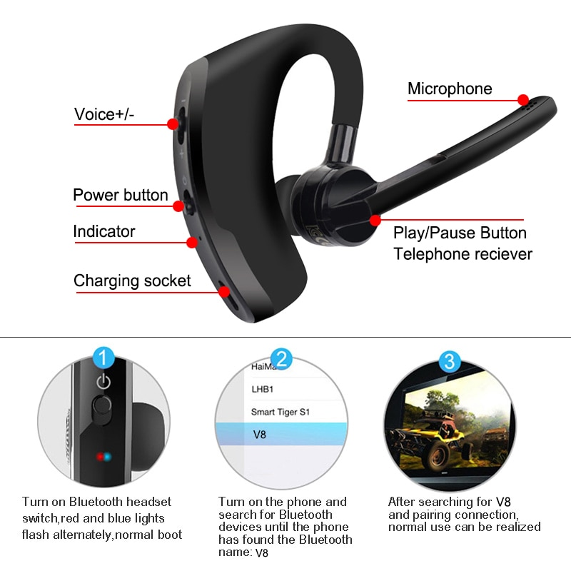 V8 rtSpo Blutooth Earphone Wireless Stereo HD Mic Headphones Bluetooth Hands In Car Kit With Mic For iPhone Samsung Huawei Phone enlarge