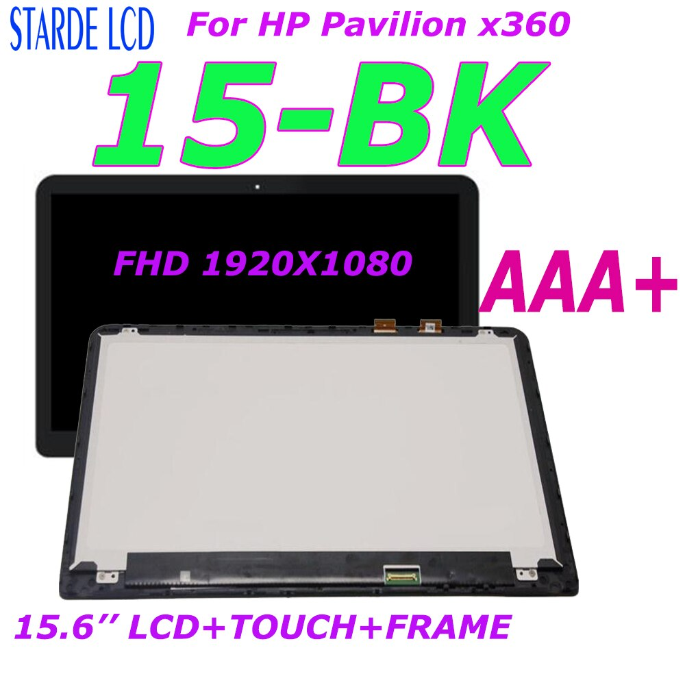 AAA+ 15.6' LCD For HP Pavilion x360 15-BK Series LCD Display Touch Screen Digitizer Assembly With Frame 862643-001 FHD 1920X1080