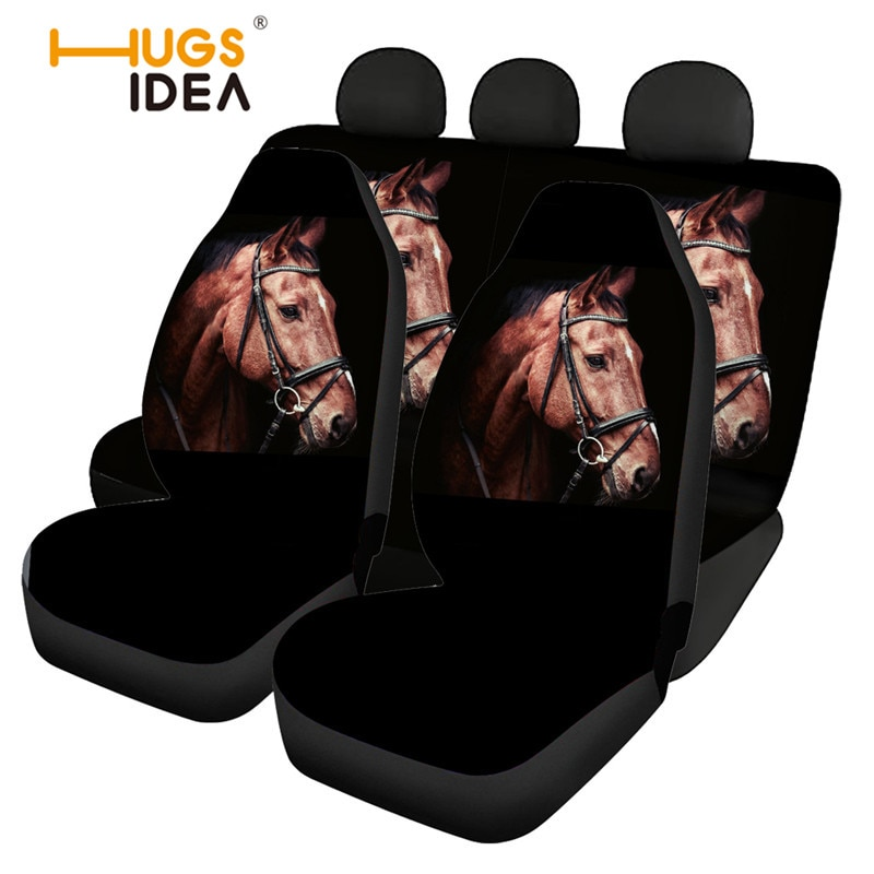 HUGSIDEAAnimal-أغطية مقاعد السيارة ، أغطية مقاعد السيارة الأمامية والخلفية ، مريحة وغير قابلة للانزلاق ، مجموعة كاملة