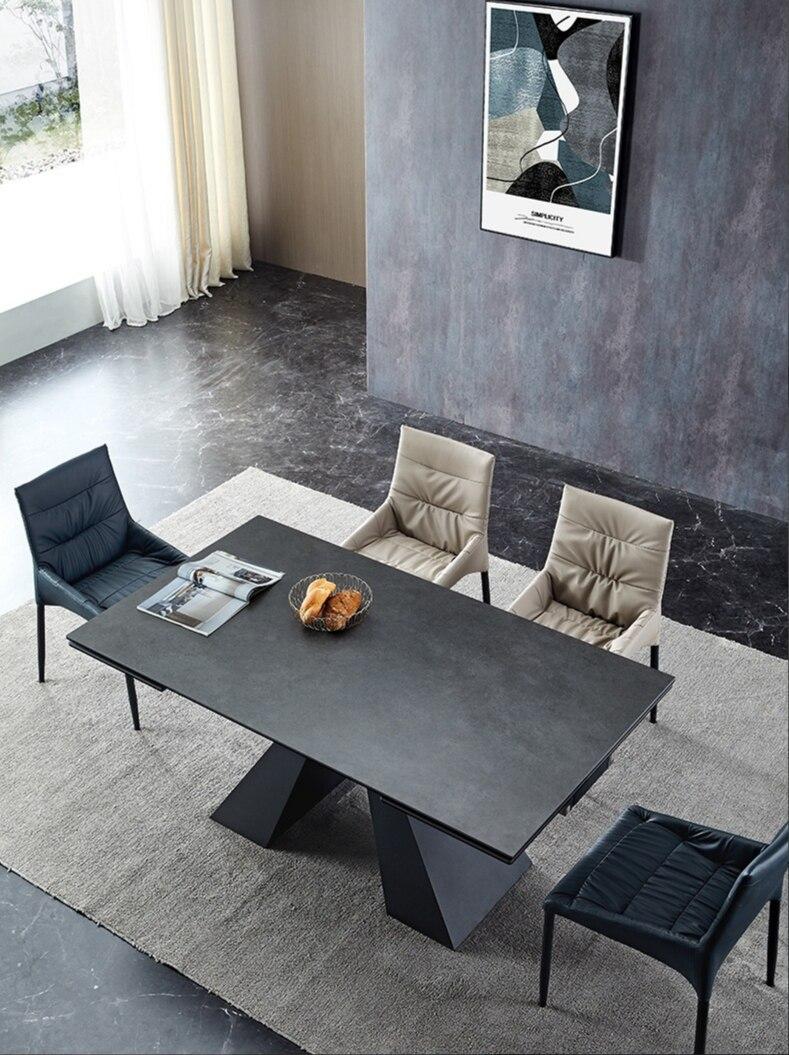 لوحة الصخور الموسعة طاولة طعام بسيط الجانبين تمتد الرخام تشوه مستطيلة طاولة طعام قابلة للطي طاولة طعام طاولة طعام