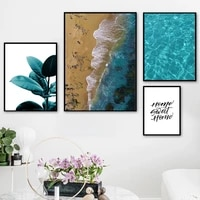 blue sea beach sand quotes green plant wall art canvas painting nordic posters and prints wall pictures for living room decor