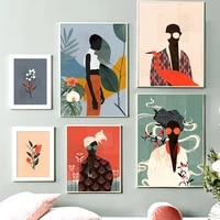 Abstrait impression mode Vintage fille fleur feuille mur Art toile peinture nordique affiches mur photos pour salon decor a la maison