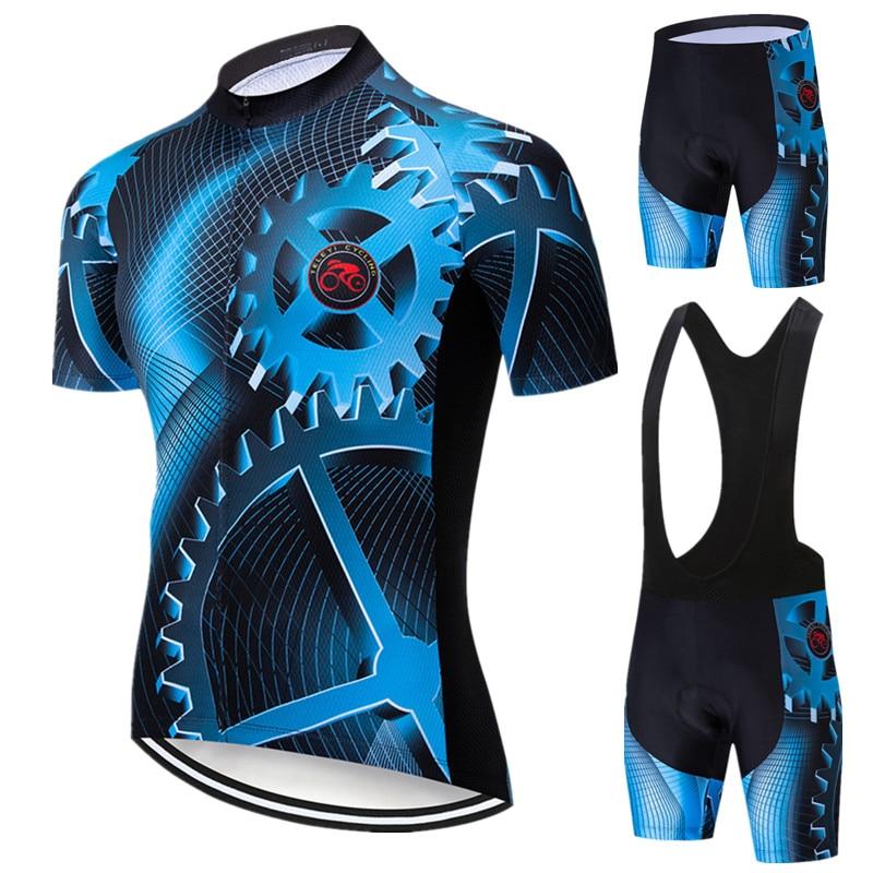 Teleyi 2019 Pro Cycling Clothing Men Cycling Sets Summer Short Sleeve Bike Clothing Team Cycling Jersey Set MTB Bicycle Wear