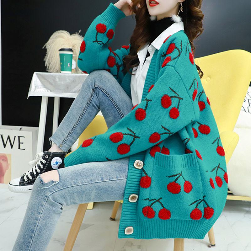Вязаный женский свитер с вишневым узором, кардиганы, однобортные кардиганы с длинным рукавом, свободный свитер в Корейском стиле, топы