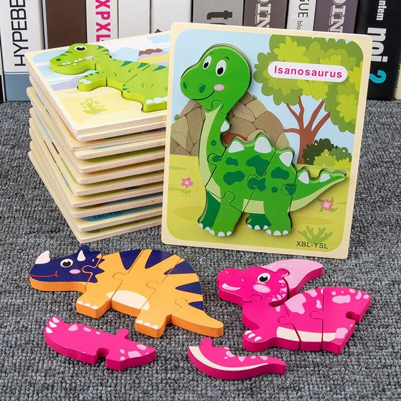 Деревянные динозавры головоломки игрушки для детей 3D мультфильм животных головоломки интеллект детей раннего образования игрушки для дет...