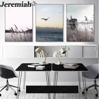 modern landscape canvas poster lake reed painting nordic pastoral style wall art living room home decoration frameless painting