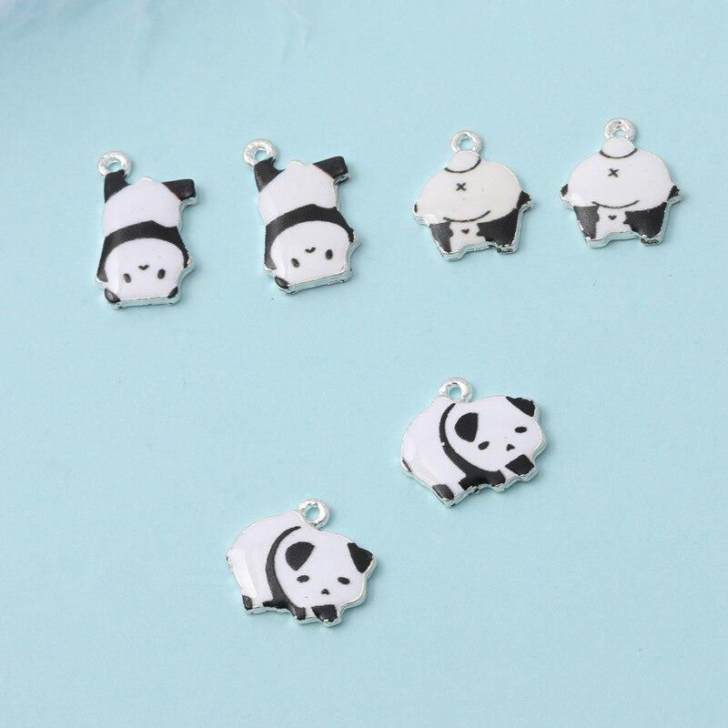 10 pçs bonito panda esmalte encantos diy branco k base pingentes achados artesanal colar brinco pulseira flutuante jóias acessório