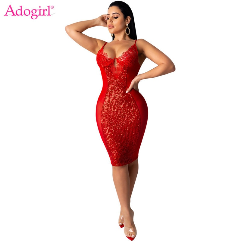 Adogirl Women Sexy Lace Sheer Mesh Patchwork Sequins Dress Deep V Neck Spaghetti Straps Bodycon Midi Night Club Party Dresses adogirl pearls feather diamonds sheer mesh party dress women sexy v neck sleeveless bodycon midi night club dresses vestidos