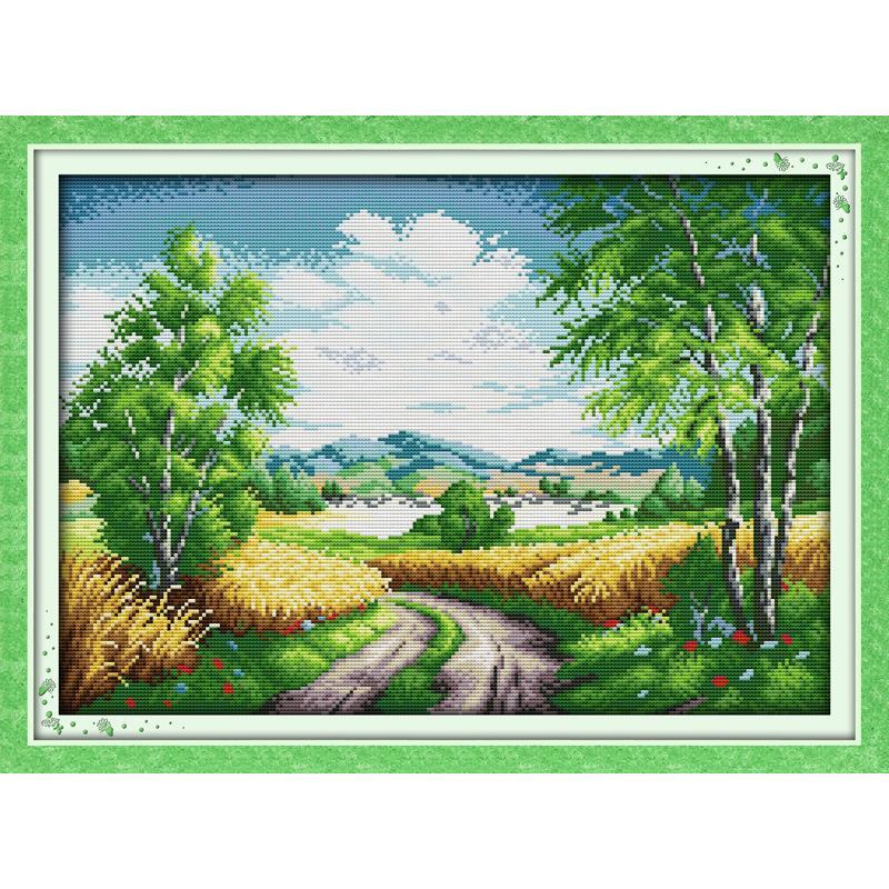 País paisagem estrada diy crafts11ct 14ct padrões impressos kits de ponto cruz dmc contado em tela bordado conjuntos para casa presentes