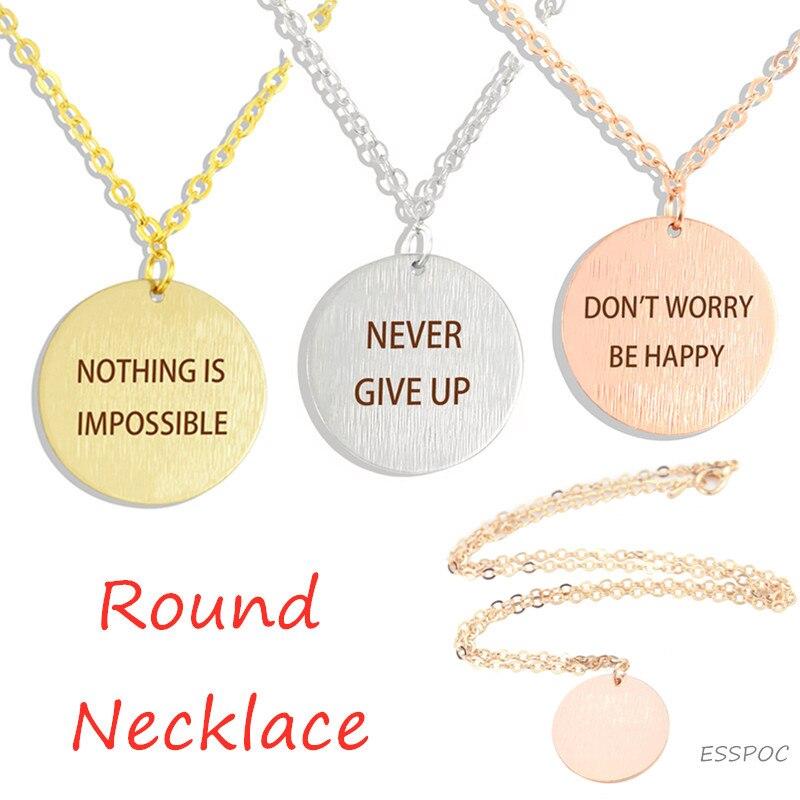 Collar inspirador SilverColour, collar de clavícula redonda, joyería minimalista, no es imposible,...