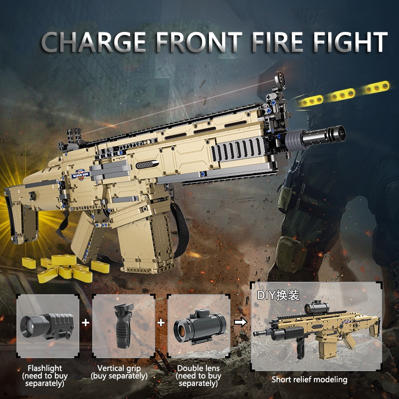 KAZI-مكعبات بناء تقنية محرك كهربائي ، لعبة Airsoft ، نموذج محاكاة ، إطلاق رصاصة ، سلسلة عسكرية 17s