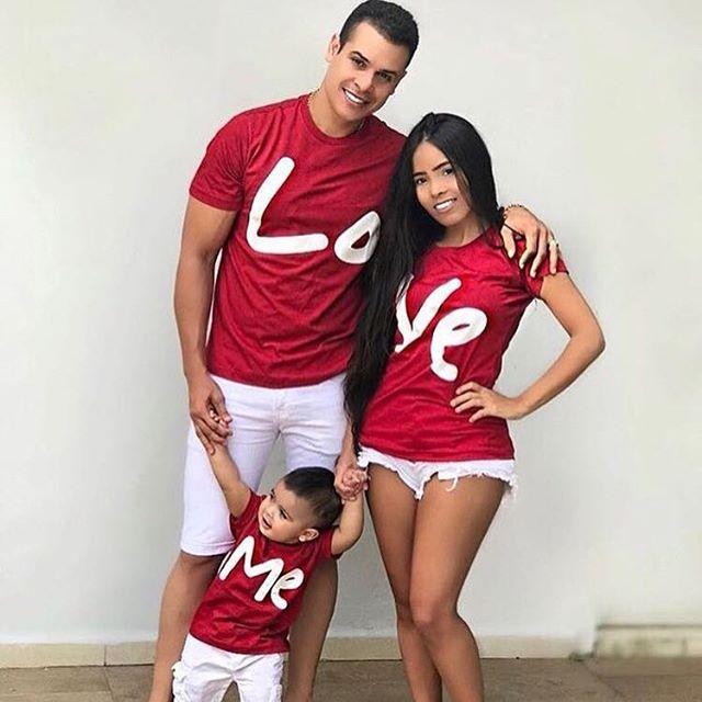 family matching clothes mother father daughter son kids baby T-shirt Parent-child Red Letter Print T