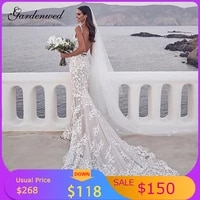sexy plunging v neck mermaid wedding dresses backless trumpet lace bride dresses ivory appliques sleeveless long bridal gowns