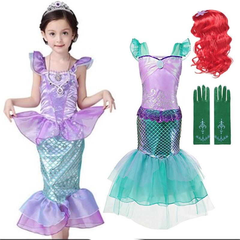Meninas pequena sereia ariel princesa vestido roupas para crianças bebê menina sereia vestir-se conjuntos criança cosplay trajes de halloween