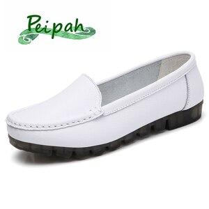 PEIPAH/2021 г. Повседневная обувь из натуральной кожи для женщин, женские мокасины, женские лоферы без шнуровки, Женская открытая дышащая обувь на плоской подошве размера плюс