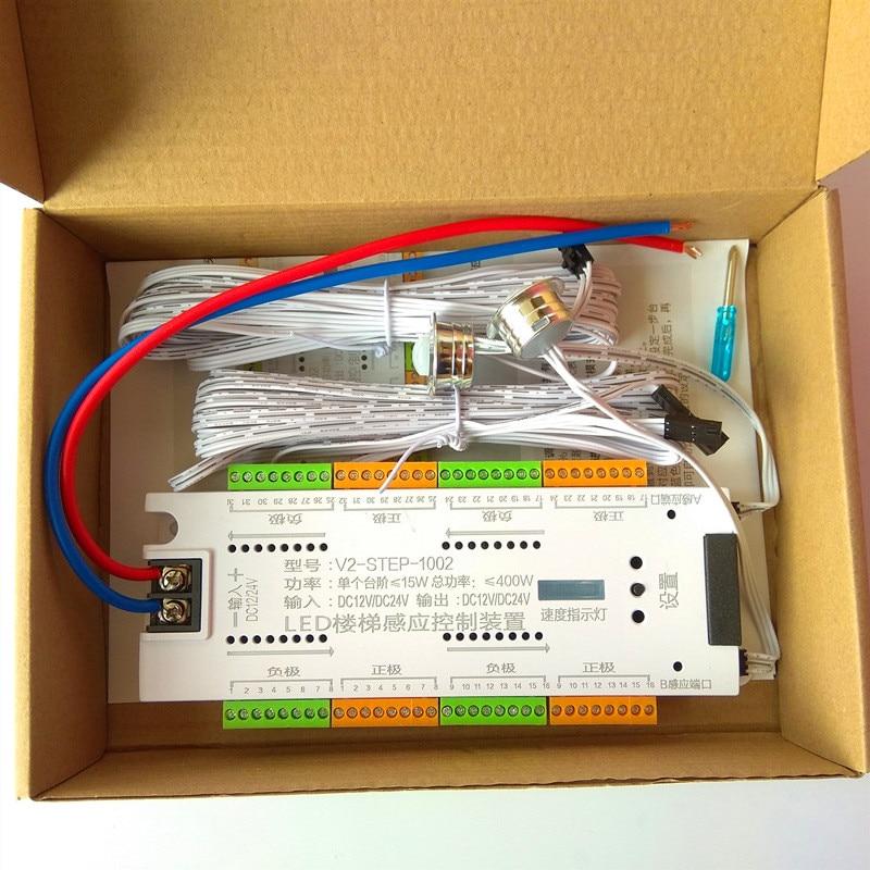 درج LED محس حركة تحكم تيار مستمر 12 فولت 24 فولت 32 قنوات داخلي PIR ضوء الليل باهتة لشريط الدرج مرنة