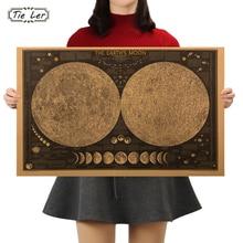 Affiche murale en papier terre lune   Autocollant de décoration, grand tableau rétro Vintage, terre lune, carte du monde, décoration de la maison