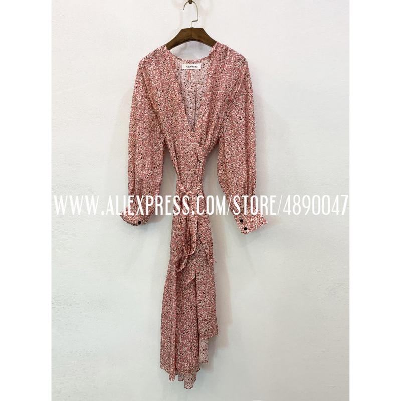 Vestido de seda de alta calidad estampado boho 2020 Primavera Verano sexy con cuello en V vestido largo vestido de flujo en material cómodo