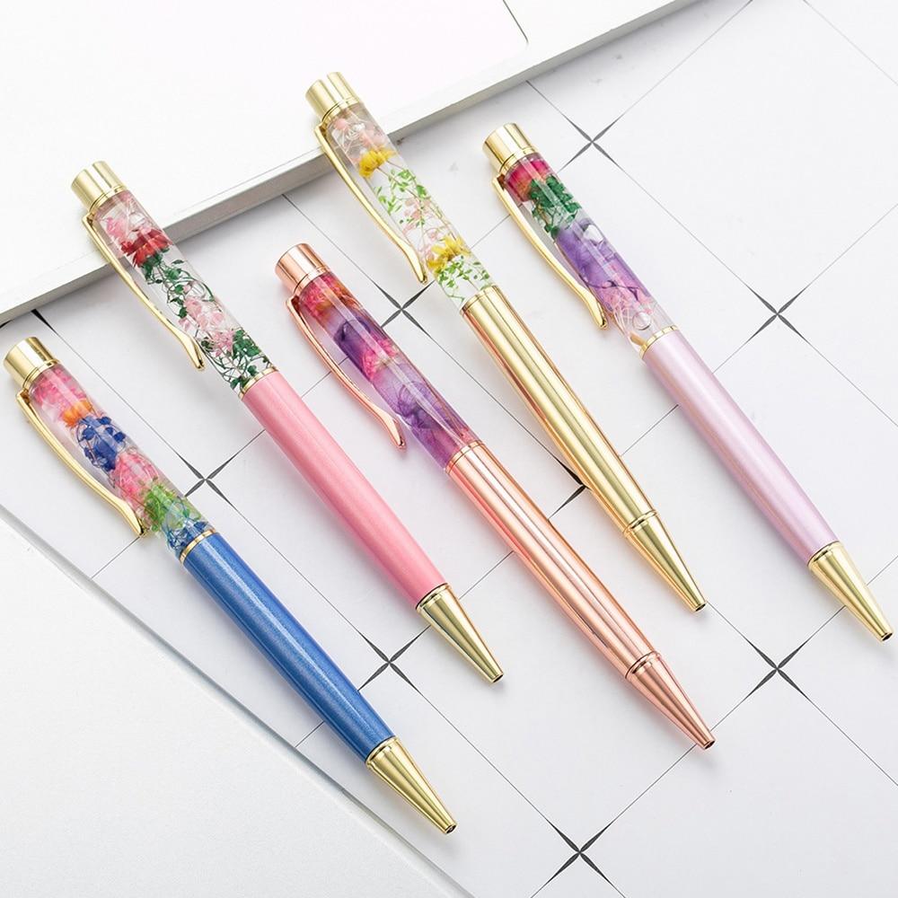 Ручка шариковая Цветочная шариковая ручка, металлическая, с жидким потоком, 1 шт.