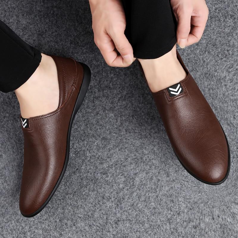الرجال البازلاء أحذية مريحة جلد أصلي للرجال حذاء كاجوال أحذية تسمح بدخول الهواء الانزلاق على الأحذية المشي أحذية قيادة *