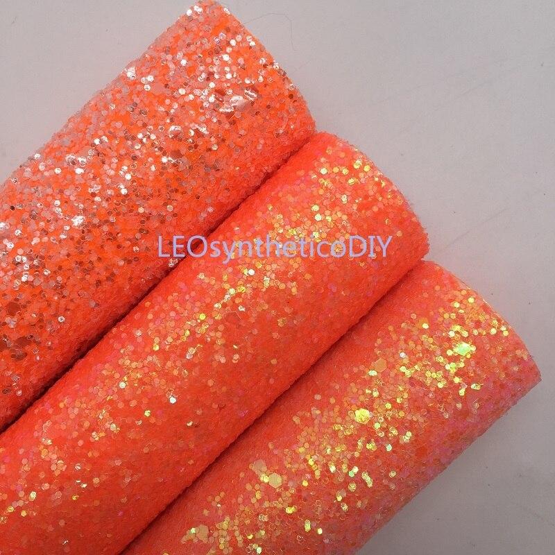 Mini rolo 30x134cm laranja glitter fabirc, couro robusto do brilho, rolo de couro do brilho para fazer arcos leosyntheticodiy sk300
